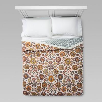 Cream Medallion Linen Flange Quilt (King)- Threshold™