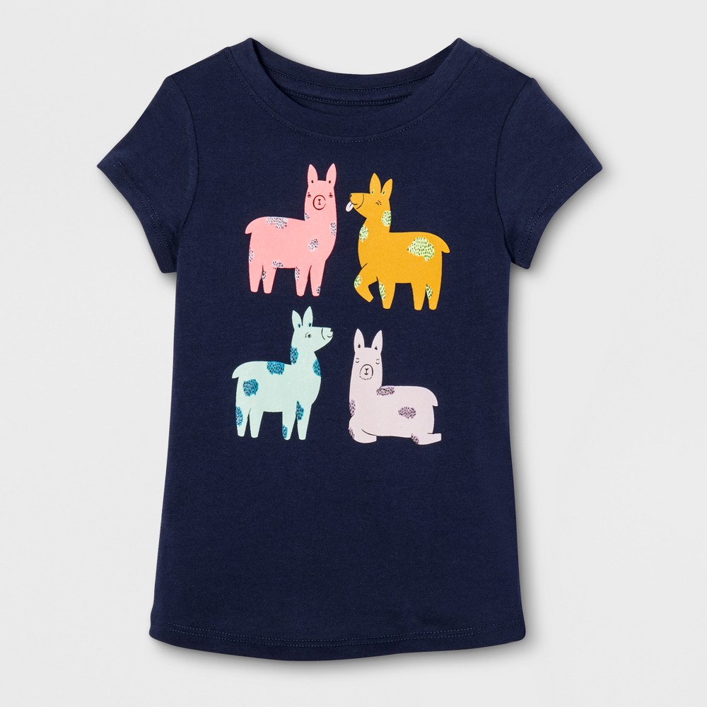 Toddler Girls Cap Sleeve Graphic T-Shirt - Cat & Jack Navy 12 M, Blue