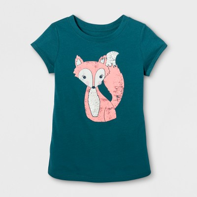 Toddler Girls' Cap Sleeve Graphic T-Shirt - Cat & Jack™ Fiji Teal 18 M