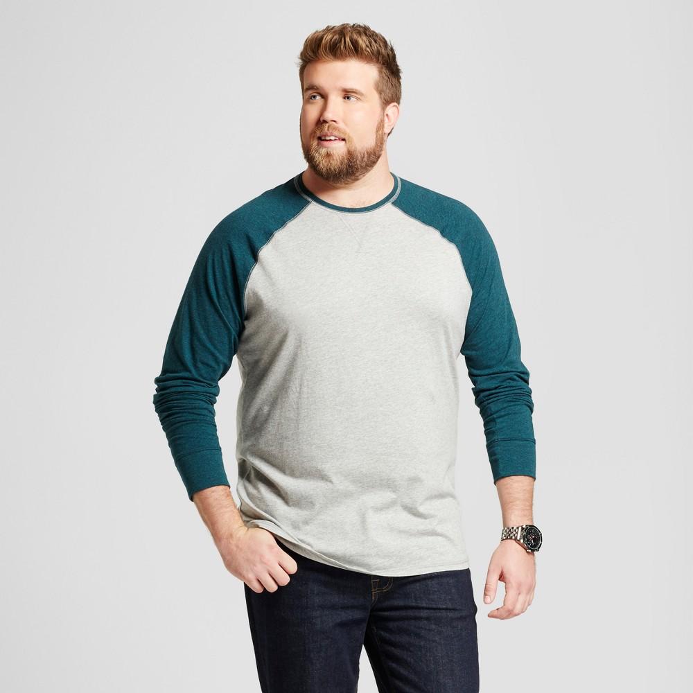 Mens Big & Tall Standard Fit Long Sleeve Baseball T-Shirt - Goodfellow & Co Green MT