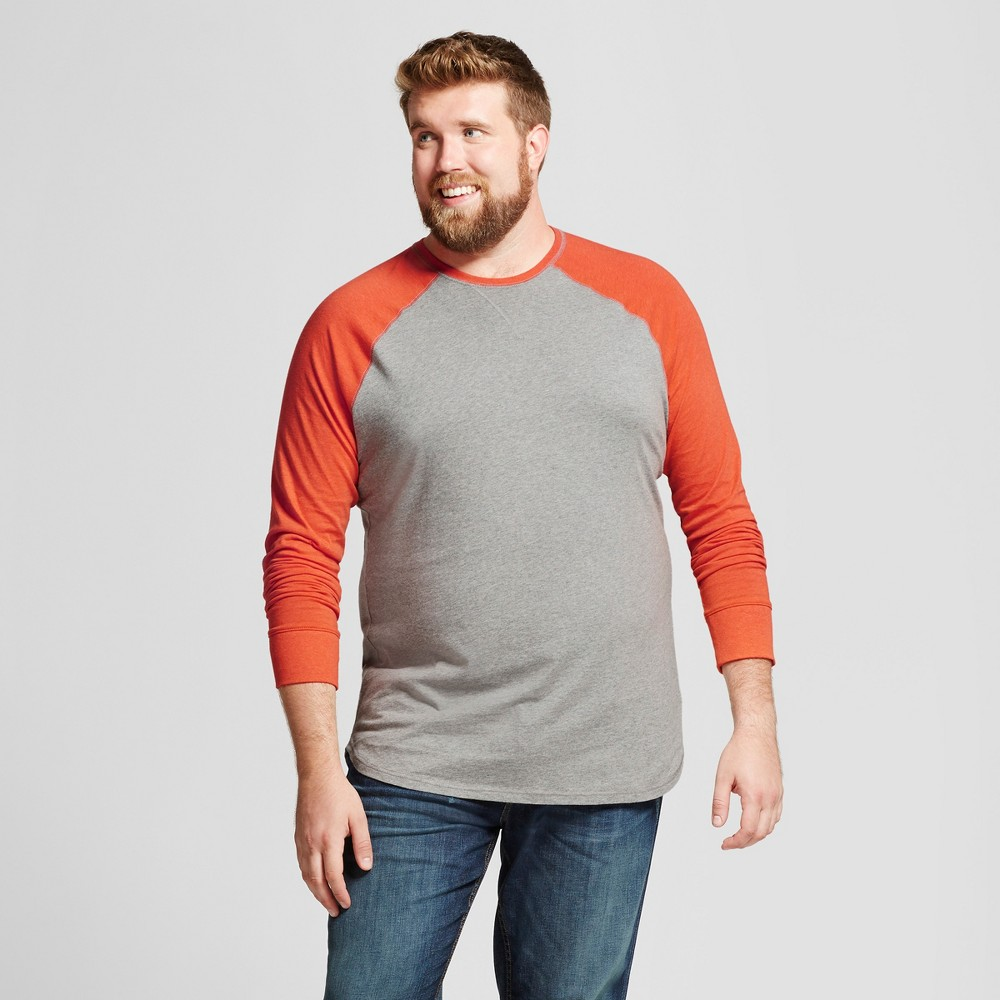 Mens Big & Tall Standard Fit Long Sleeve Baseball T-Shirt - Goodfellow & Co Orange Xlt