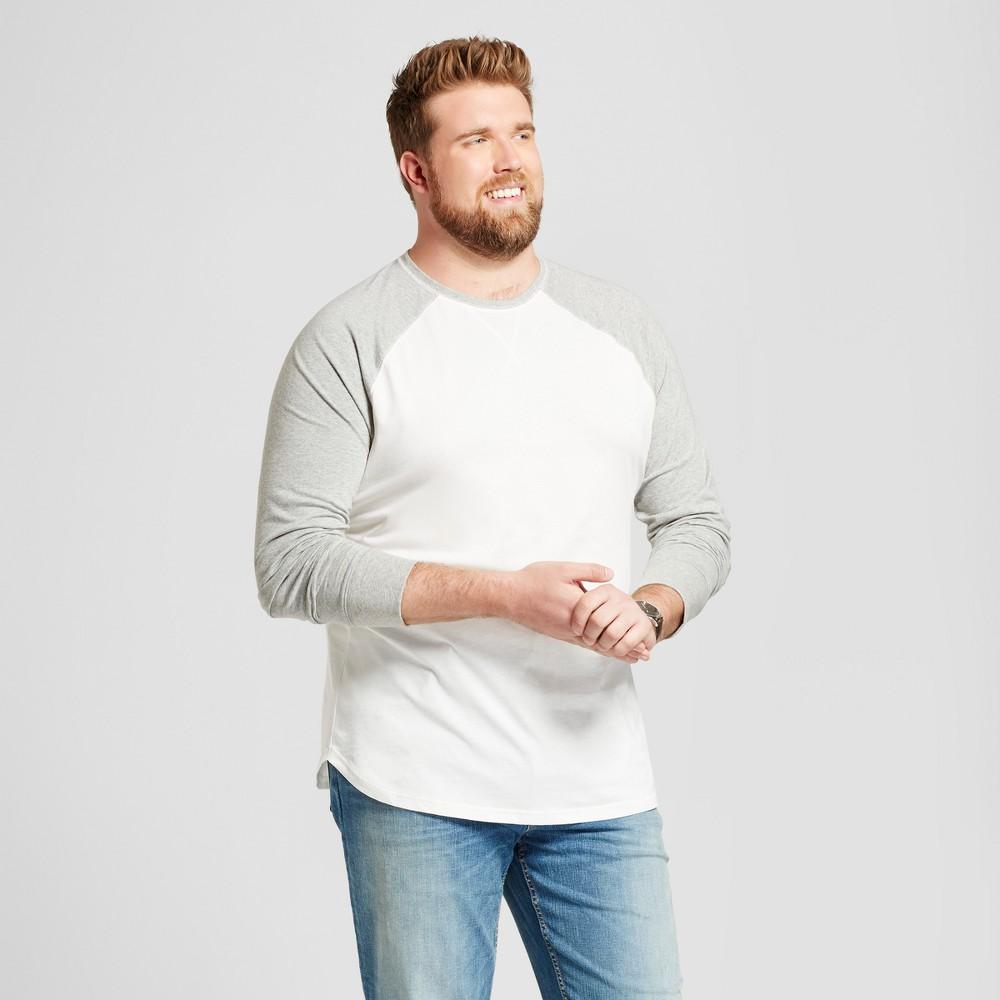 Mens Big & Tall Standard Fit Long Sleeve Baseball T-Shirt - Goodfellow & Co White 3XBT