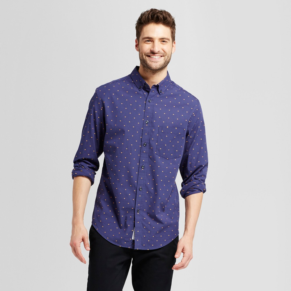 Mens Standard Fit Northrop Poplin Button Down Shirt - Goodfellow & Co Navy (Blue) XL