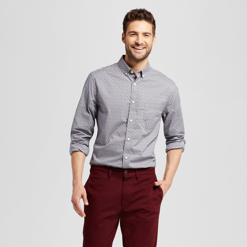 Mens Slim Fit Northrop Poplin Button Down Shirt - Goodfellow & Co Gray Print M