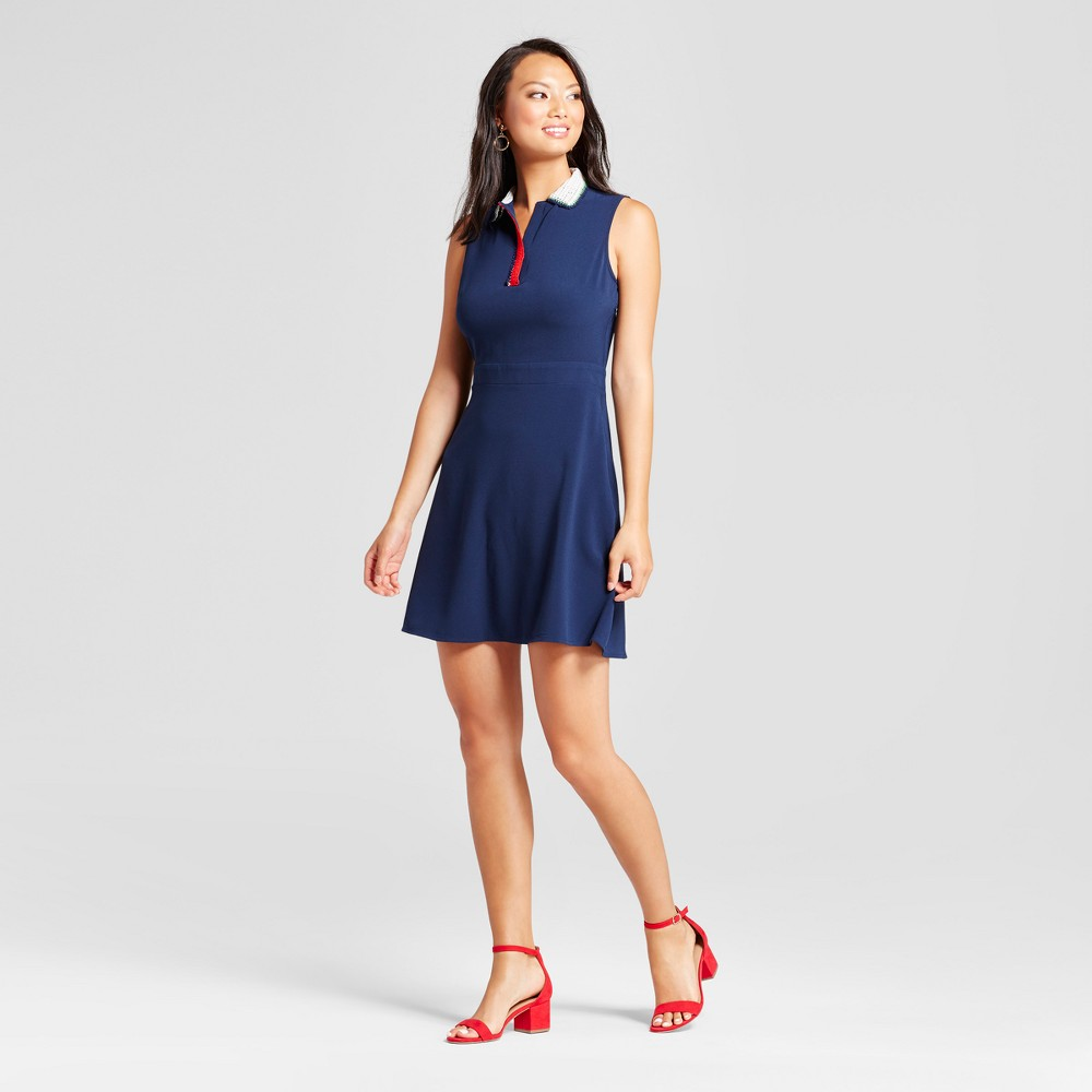 Womens Tank Dress with Handmade Crochet Collar - Isani for Target Navy M, Blue