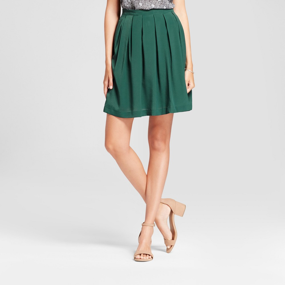Womens Solid Pleated A-line Skirt - Isani for Target Olive L, Green