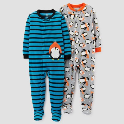 Baby Boys' 2pk Fleece Penguins & Stripes Footed Pajama Set - Just One You™ Made by Carter's Blue 12M