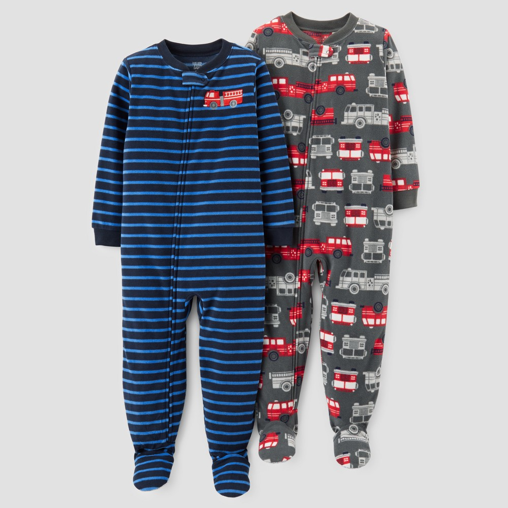 Toddler Boys 2pk Fleece Firetrucks & Stripes Footed Pajama Set - Just One You Made by Carters Gray 5T, Blue