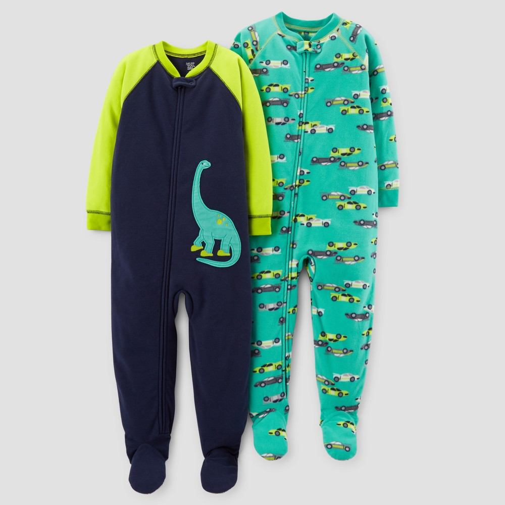 Toddler Boys 2pk Fleece Dinos & Cars Footed Pajama Set - Just One You Made by Carters Teal 2T, Blue