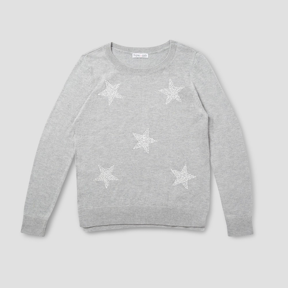 Girls Franki & Jack Allover Star Crystal Pullover Sweater - Heather Gray M (7-8)