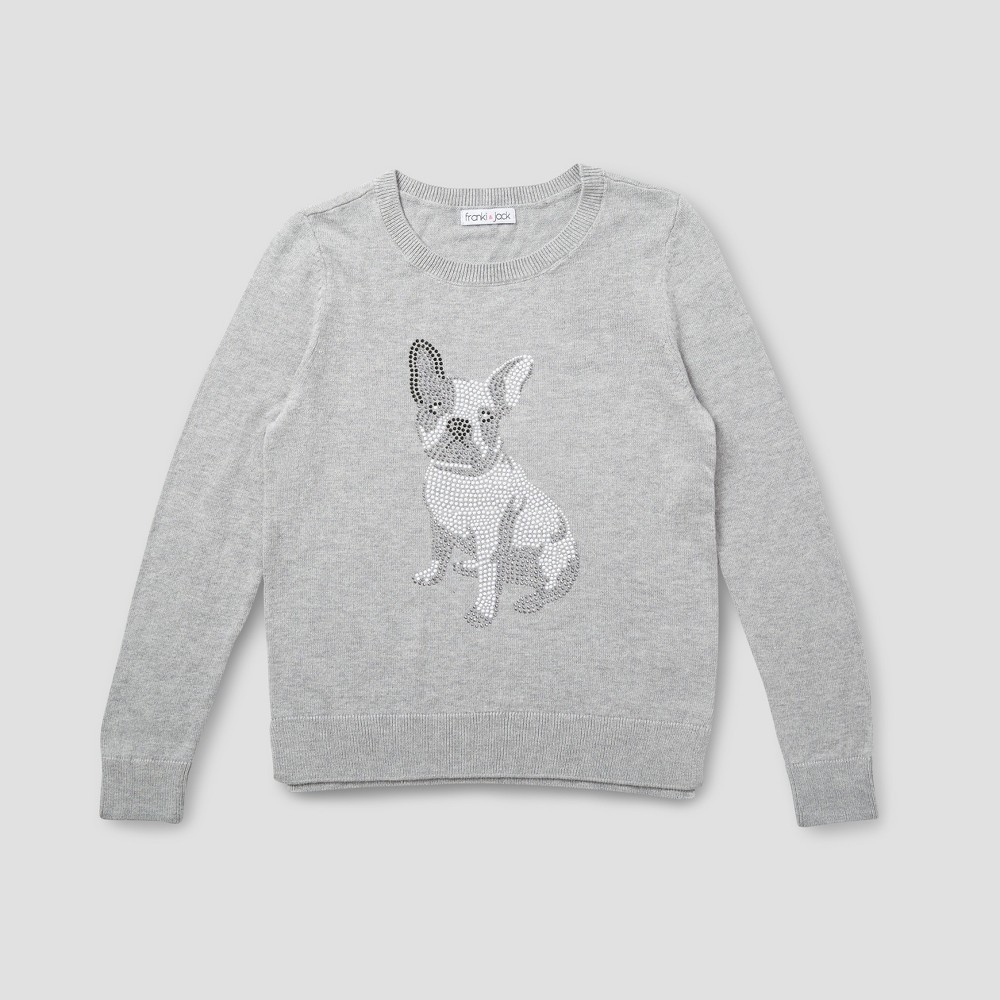 Girls Franki & Jack Bulldog Crystal Pullover Sweater - Heather Gray XS (4-5)