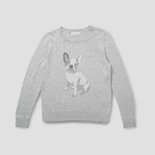 Girls' Franki & Jack Bulldog Crystal Pullover Sweater - Heather ...