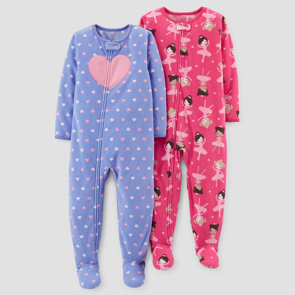 Toddler Girls 2pk Fleece Hearts & Dancers Footed Pajama Set - Just One You Made by Carters Purple 4T