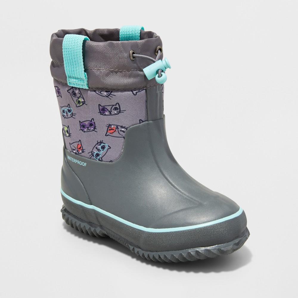 Toddler Girls Meg Neoprene Winter Boots L - Cat & Jack - Gray, Size: L (9-10)