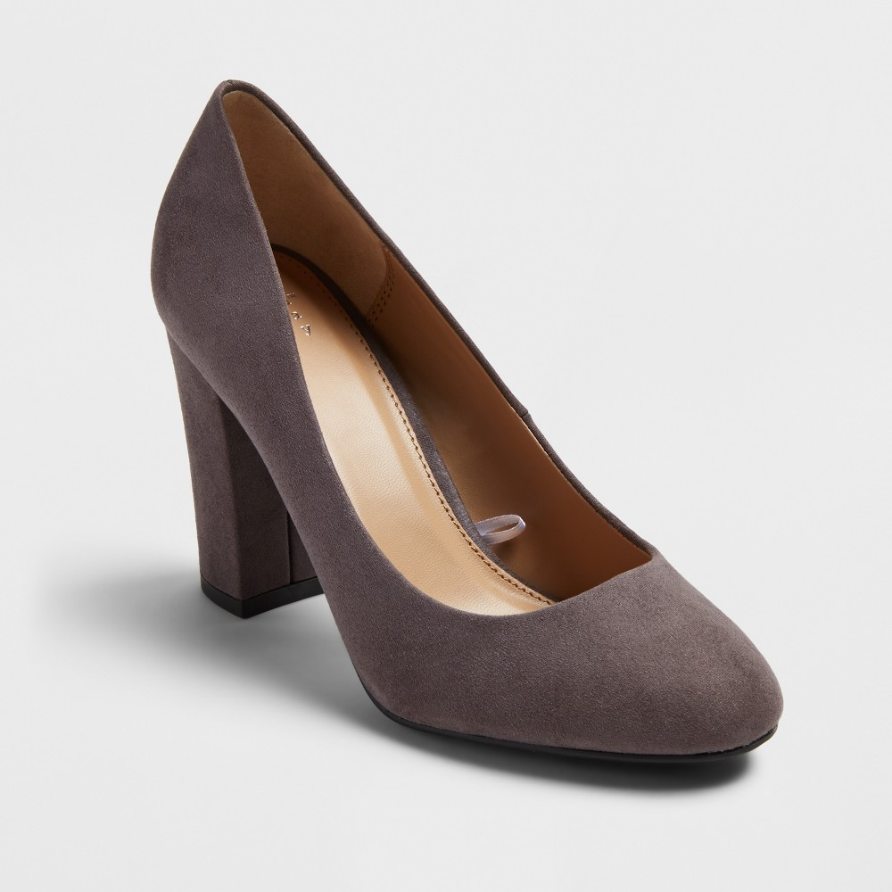 Women's Ellori Velvet Block Heel Pumps - A New Day Gray 7