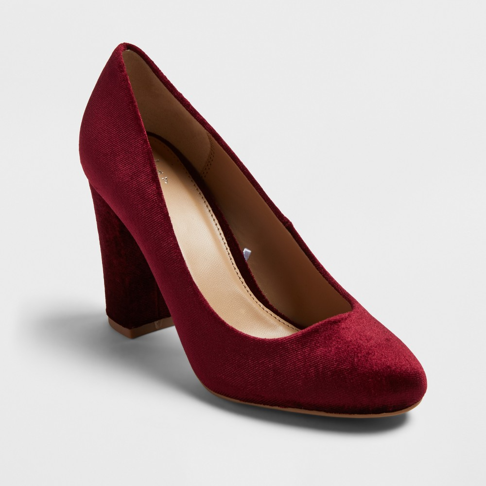 Womens Ellori Velvet Block Heel Pumps - A New Day Burgundy (Red) 12