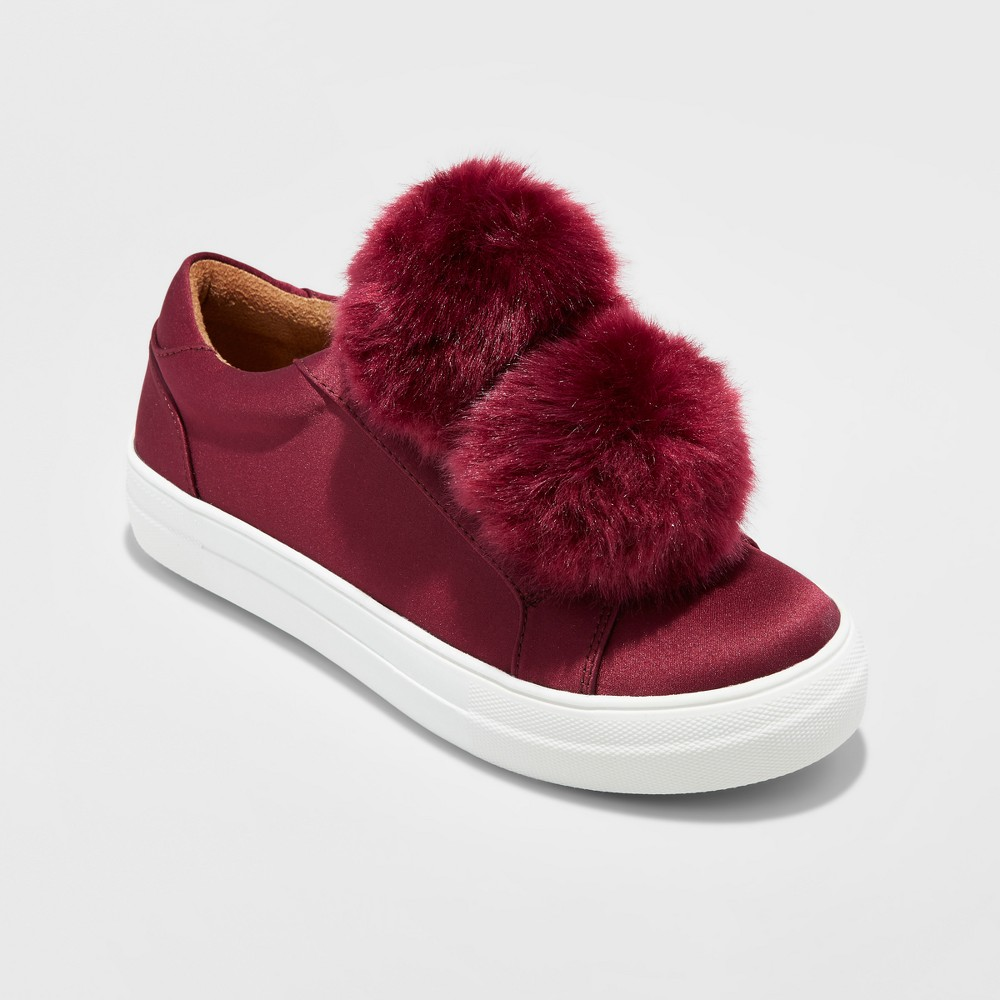 Women's Abbie Slip On Sneakers with Faux Fur Pompom - Mossimo Supply Co. Burgundy (Red) 8