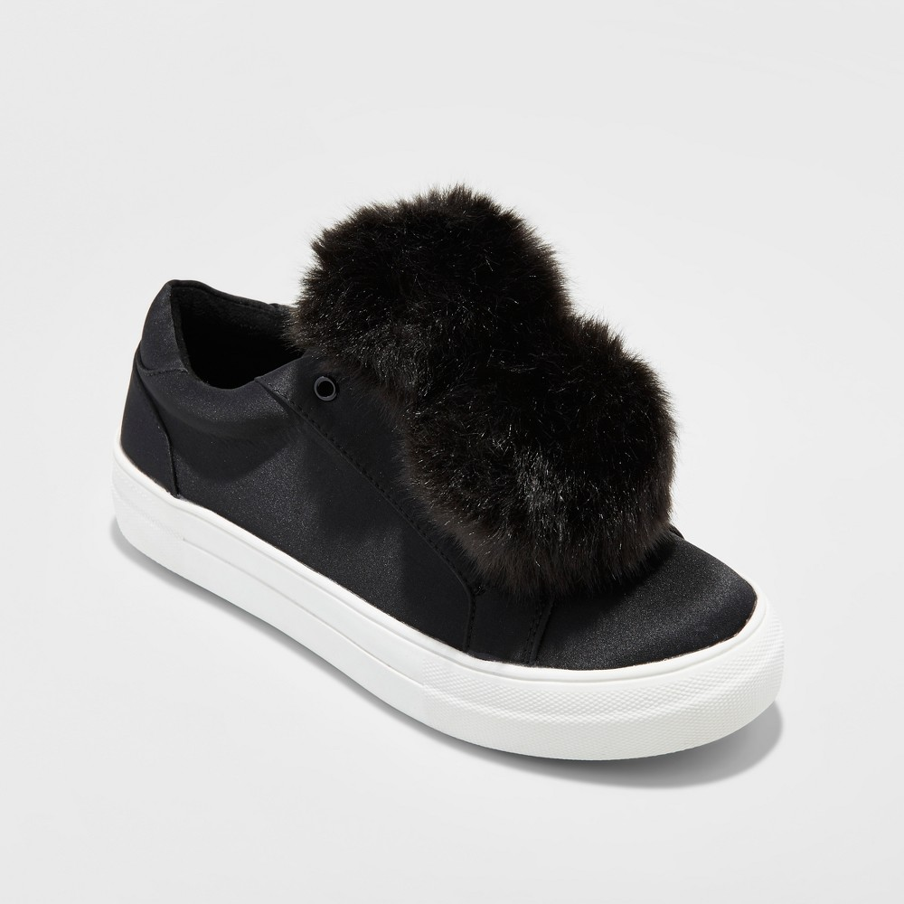 Womens Abbie Slip On Sneakers with Faux Fur Pompom - Mossimo Supply Co. Black 11