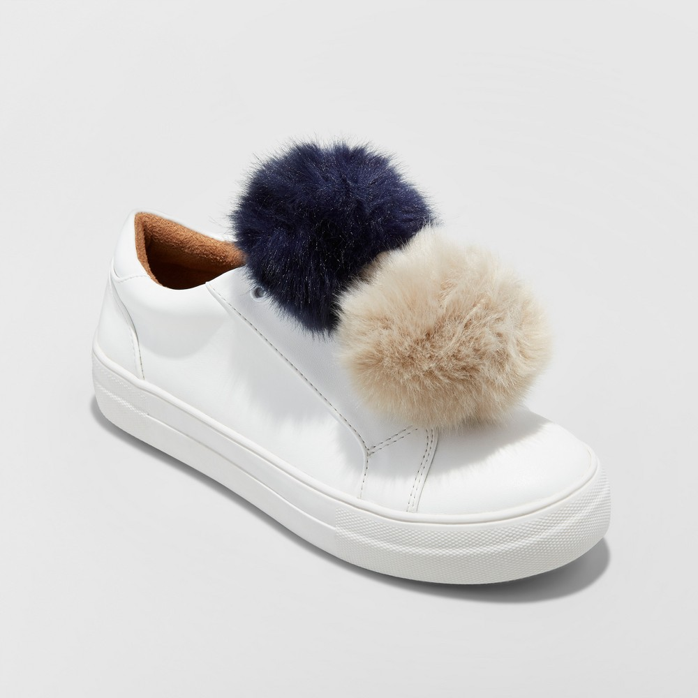 Womens Abbie Slip On Sneakers with Faux Fur Pompom - Mossimo Supply Co. White 8.5