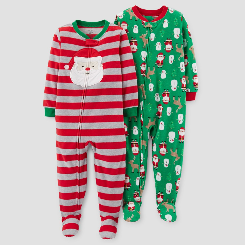 Toddler Boys' 2pk Fleece Santa Stripes Footed Pajama Set - Just One You Made by Carter's Red 12M, Size: 12 M