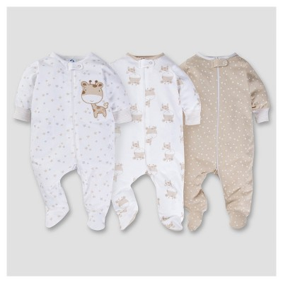 Baby's 3pk Zip Front Sleep N Play - Giraffe NB - Gerber®