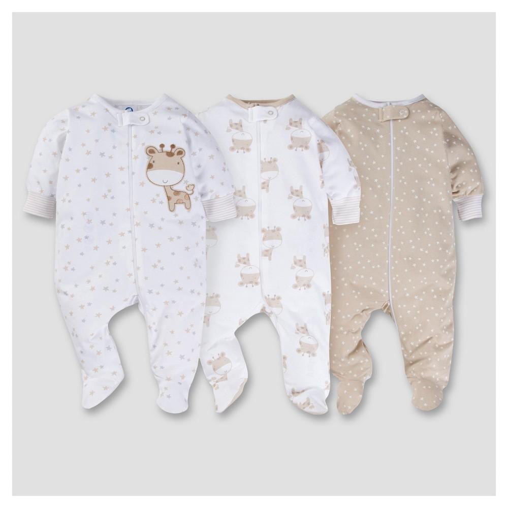 Babys 3pk Zip Front Sleep N Play - Giraffe NB - Gerber, Infant Unisex, Brown