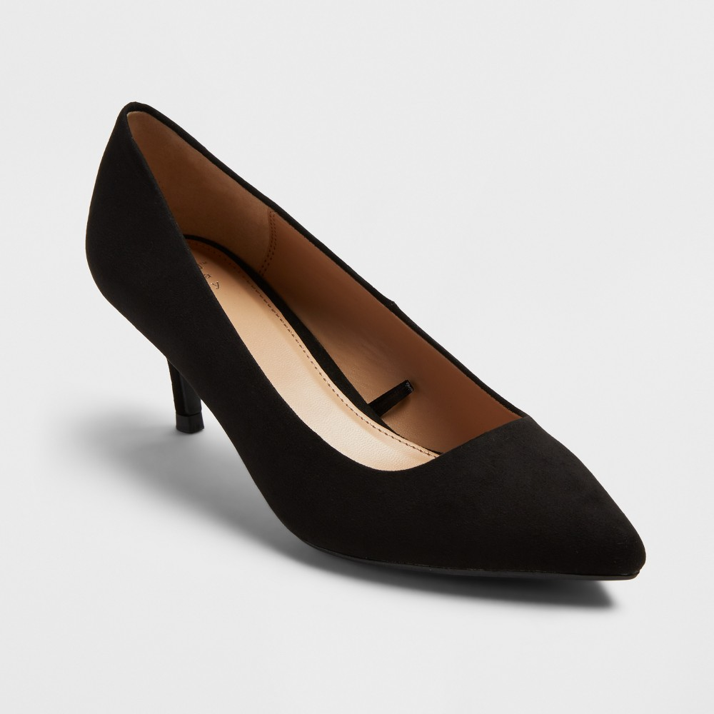 Womens Dora Pointed Toe And Kitten Heel Pumps - A New Day Black 9.5