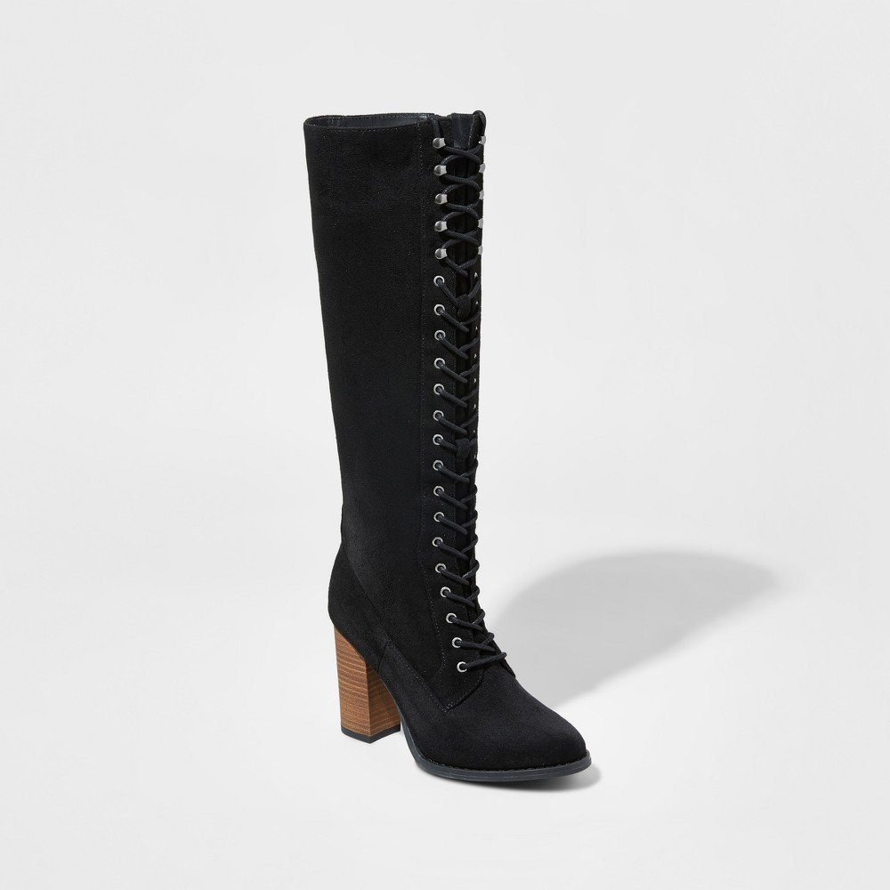 Womens Marni Lace-Up Heeled Tall Boots - A New Day Black 8.5