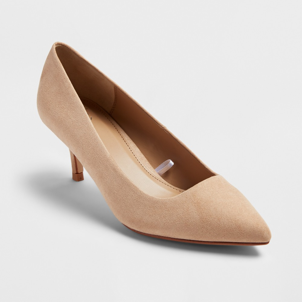 Womens Dora Pointed Toe And Kitten Heel Pumps - A New Day Honey Beige 6.5
