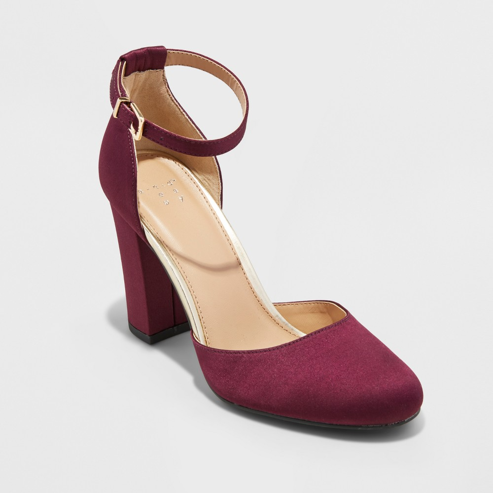 Womens Eloisa Satin Mary Jane Heel Pumps - A New Day Burgundy (Red) 7