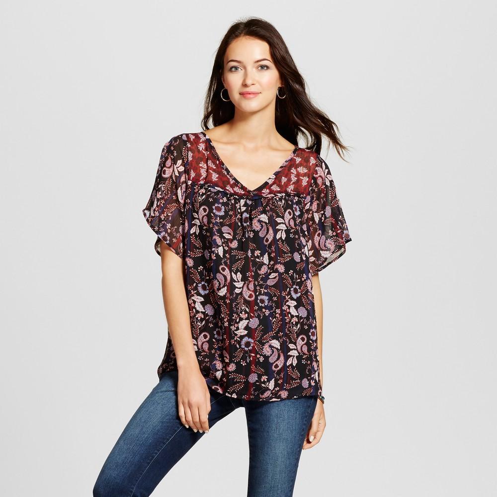 Womens Printed Flutter Sleeve Top - Knox Rose Black XL