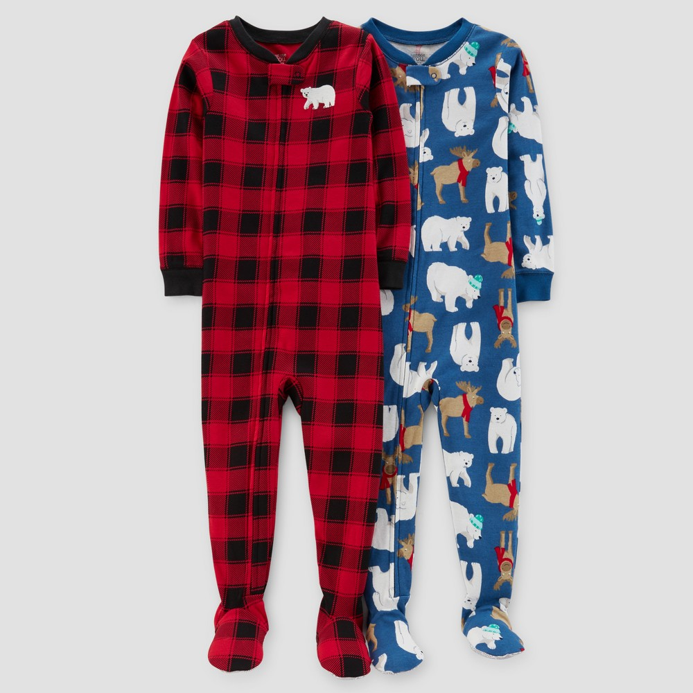 Baby Boys 2pk Buffalo Check & Polar Bears Pajama Set - Just One You Made by Carters Red 12M, Size: 12 M