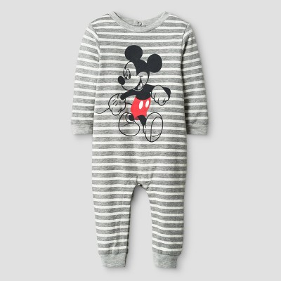Disney Baby Boys' Mickey Mouse Striped Long Sleeve Romper - Gray 0-3M
