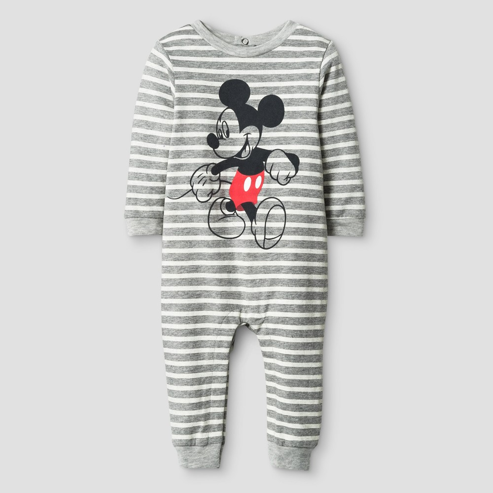 Baby Boys Mickey Mouse Coverall Gray - Disney 0-3 M