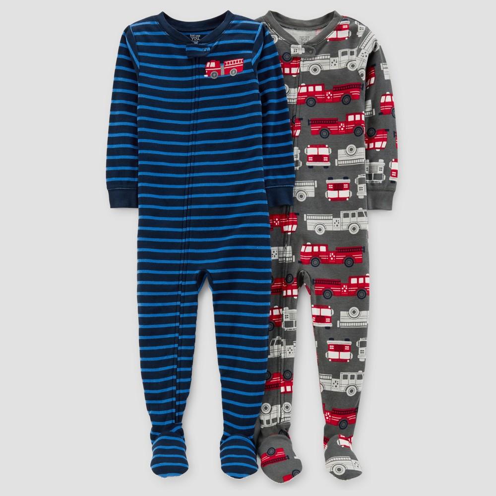 Baby Boys 2pk Firetrucks & Stripes Pajama Set - Just One You Made by Carters Dark Blue 18M, Size: 18 M