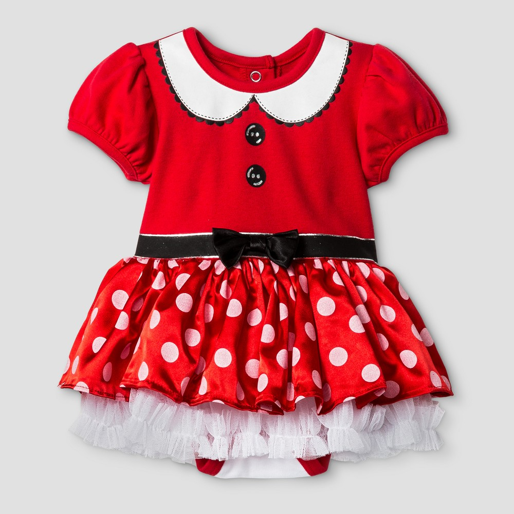 Baby Girls' Minnie Mouse Satin Skirt Bodysuit Red - Disney 24 M