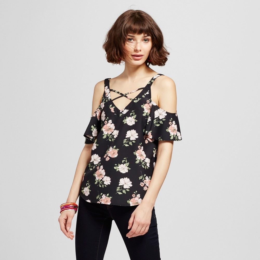 Womens Floral Cold Shoulder Lattice Top - Blu Pepper (Juniors) Black S