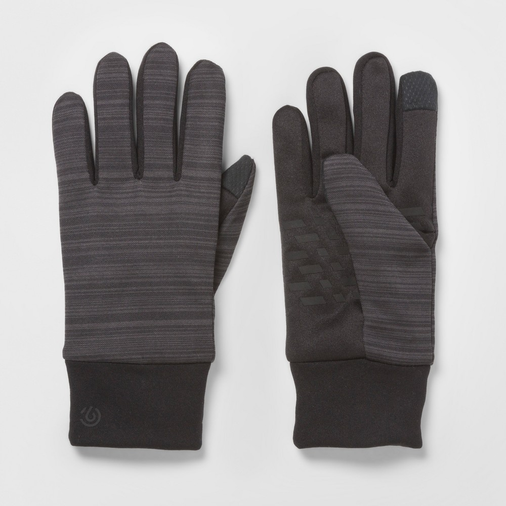 Mens Striped Pieced Glove - C9 Champion Black M/L, Size: L/XL, Black Gray