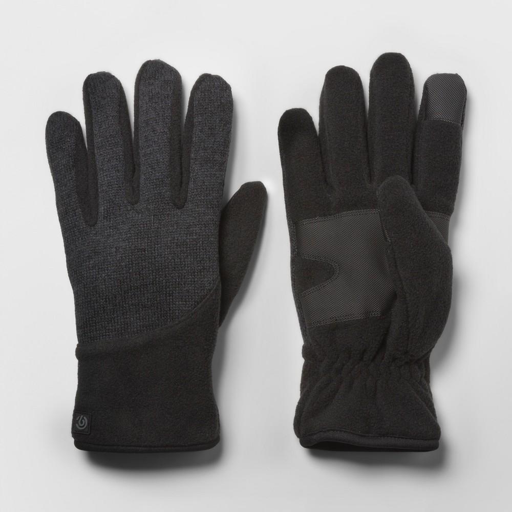 Mens Sweater knit Pieced Fleece Glove - C9 Champion - Black/Dark Charcoal M/L, Dark Heather