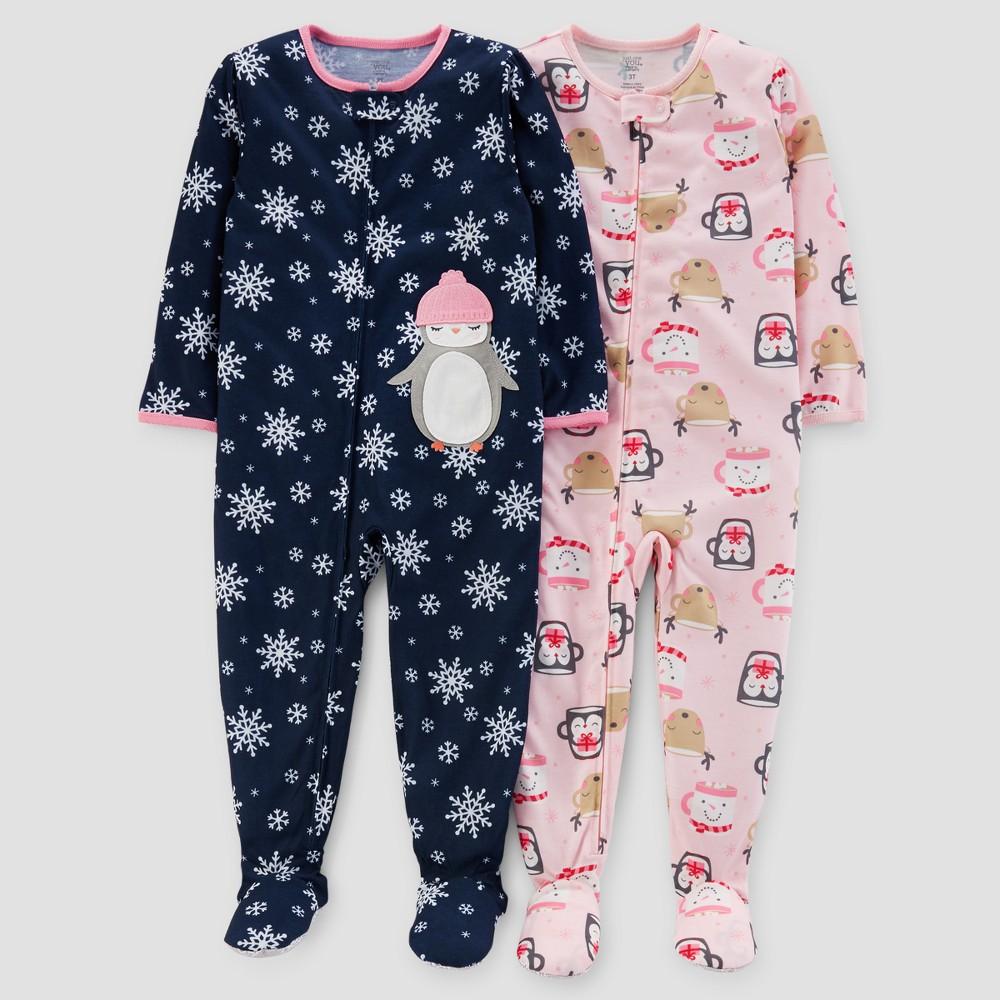 Toddler Girls 2pk Snowflake Penguin Pajama Set - Just One You Made by Carters Blue 4T