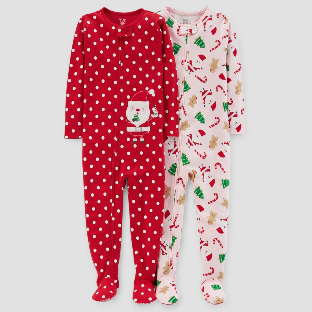Toddler Girls 2pk Santa Polka Dots Pajama Set - Just One You Made by Carters Red 4T