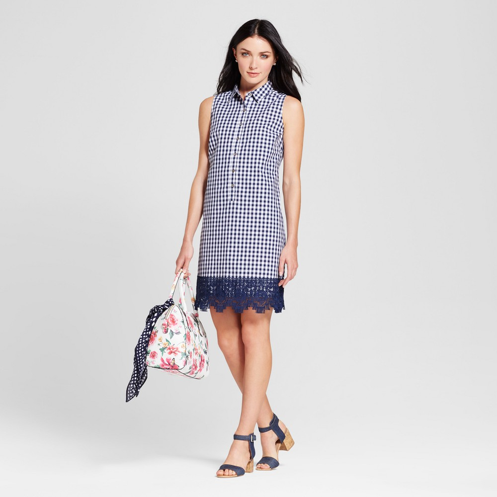 Womens Gingham Trapeze Shirt Dress with Crochet Hem - Spenser Jeremy - Navy/Ivory 10, Blue White