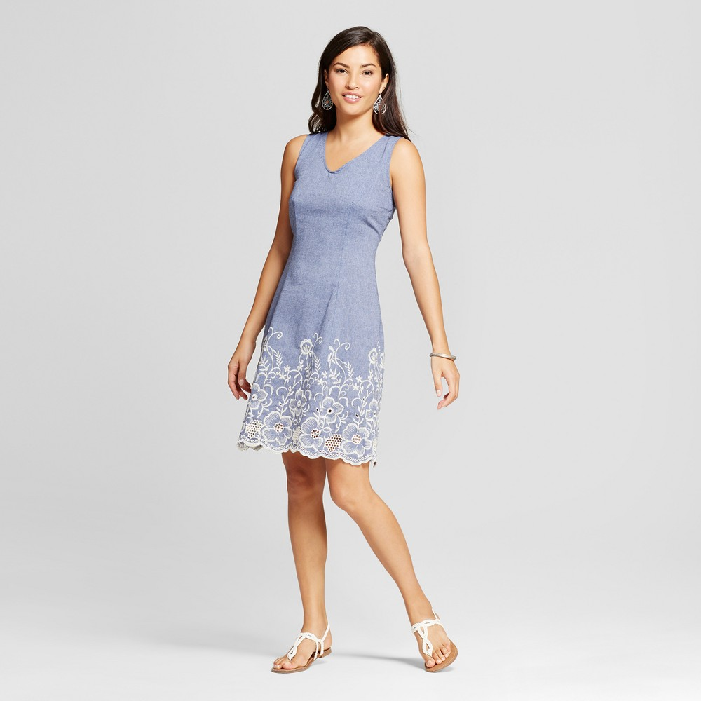 Womens Embroidered Denim Tank Dress - Zac & Rachel - Light Blue 14