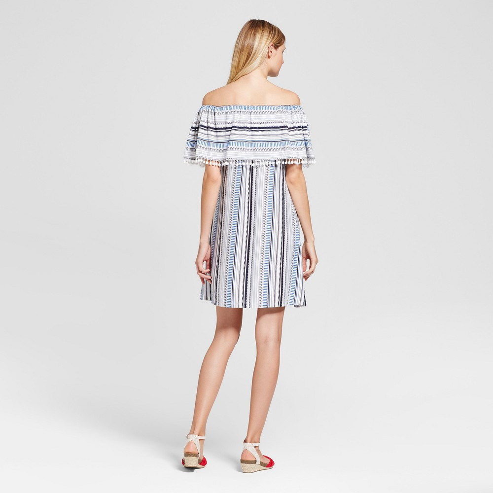 Womens Stripe Printed Off the Shoulder Dress with Pom Poms - Spenser Jeremy - Blue Combo 8, Blue White