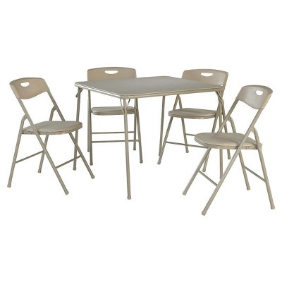 5 Piece Folding Table and Chair Set - Antique Linen - Cosco