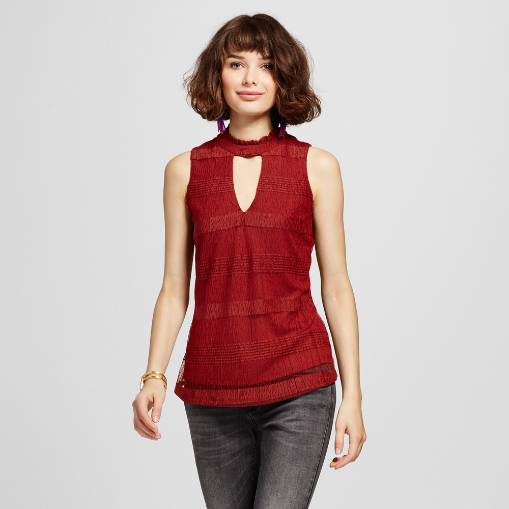 Womens Textured Mock Neck Cut Out Sleeveless Top - 3Hearts (Juniors) Red M