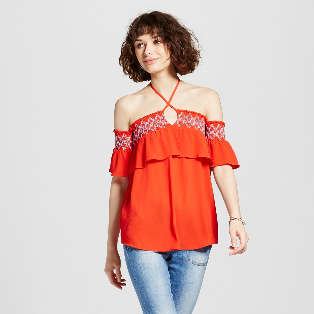 Womens Embroidered Smocked Ruffle Off the Shoulder Top - 3Hearts (Juniors) Orange S
