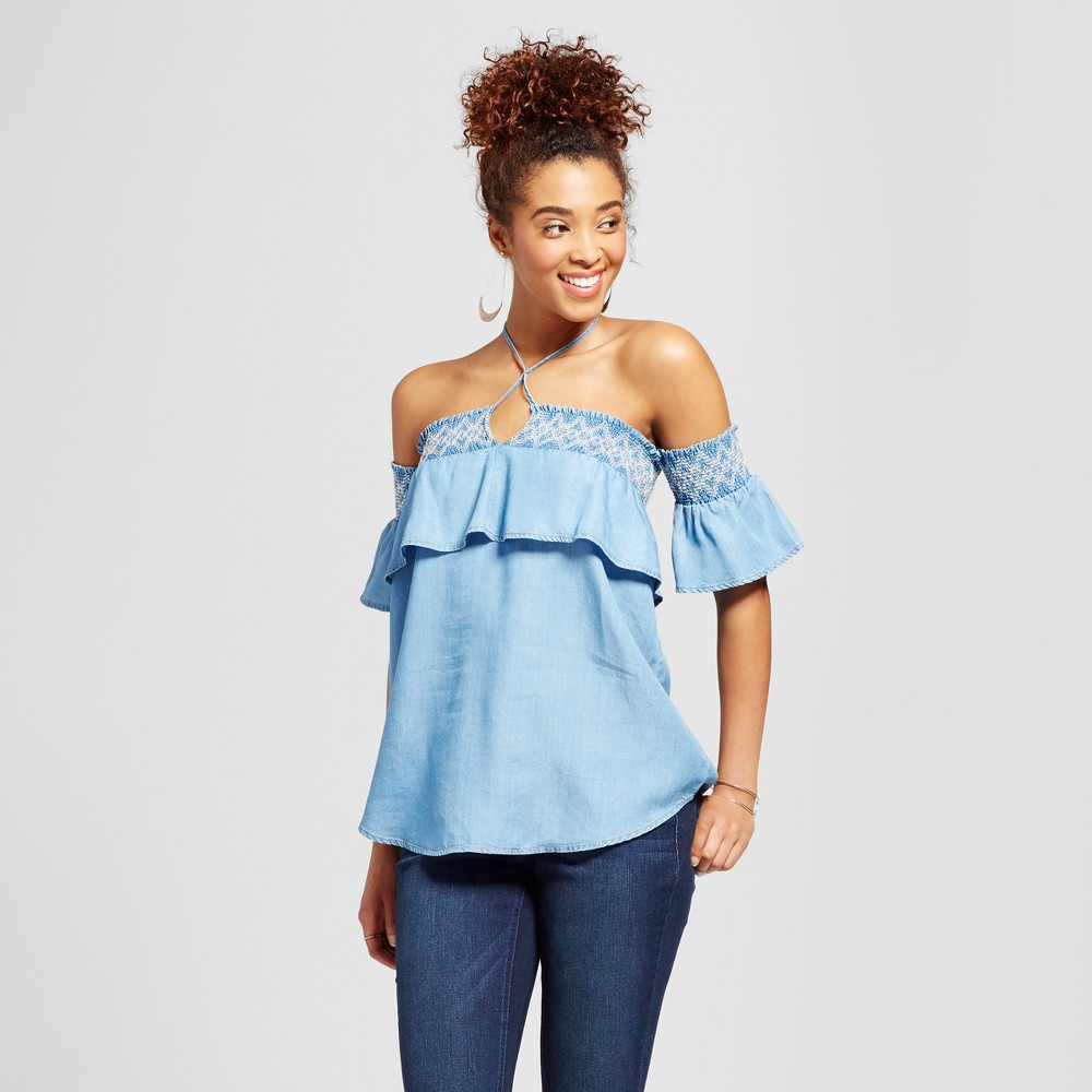Womens Chambray Embroidered Smocked Ruffle Off the Shoulder Top - 3Hearts (Juniors) Blue L