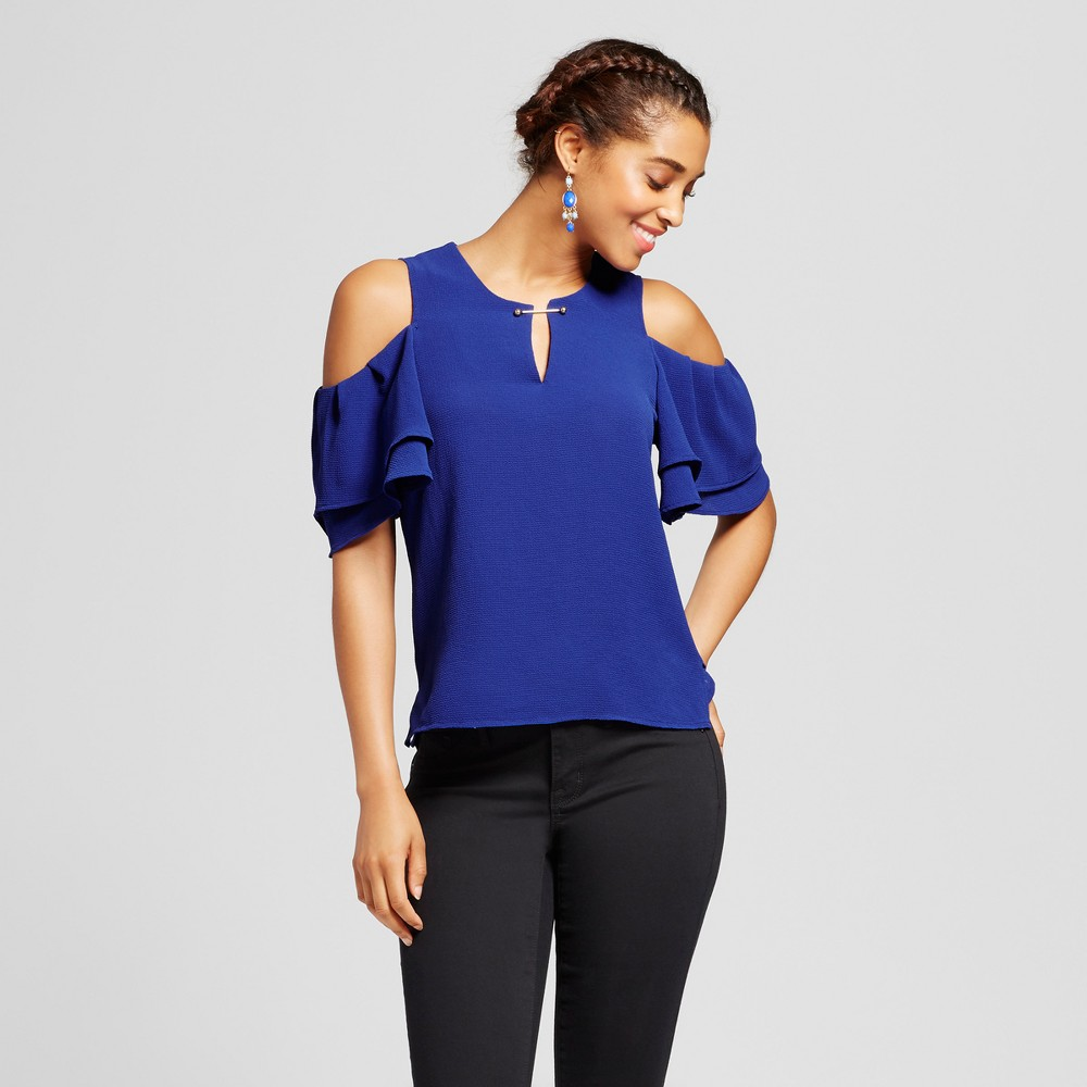Womens Double Ruffle Cold Shoulder Cut Out Top - 3Hearts (Juniors) Blue XL