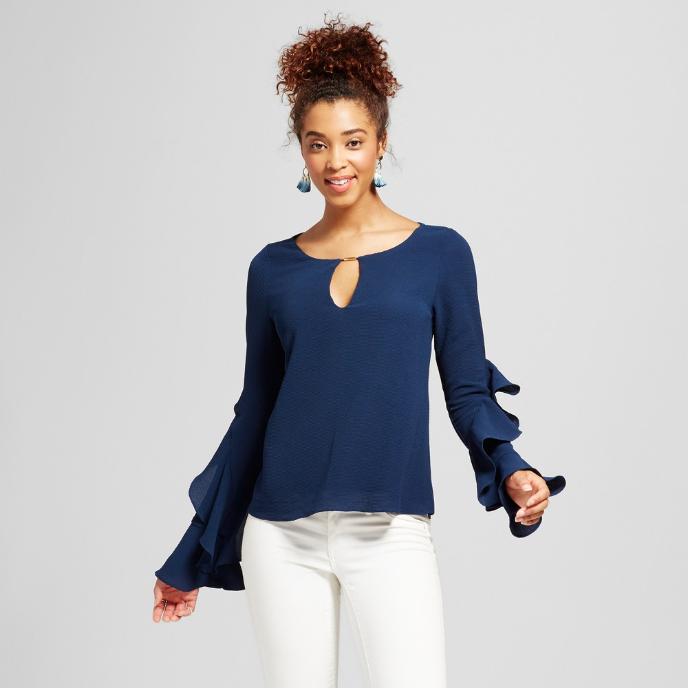 Womens Statement Sleeve Keyhole Top - 3Hearts (Juniors) Navy M, Blue